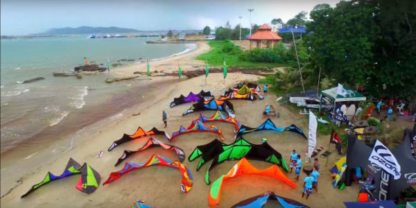 Kitesurf Thailand - drone shot of a kitesurf competition in Rayong