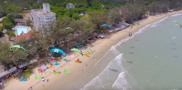 Drone shot of Rayong kiteboarding championship 2015 in Thailand