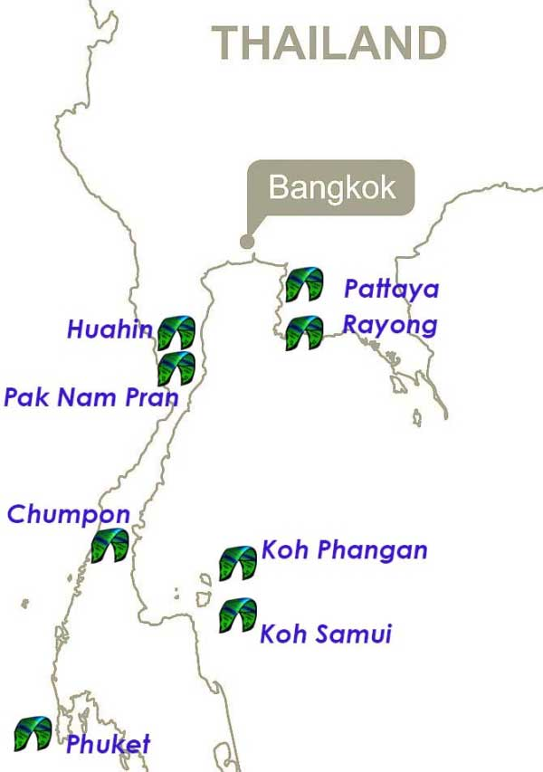 Map of all the kitespots in Thailand